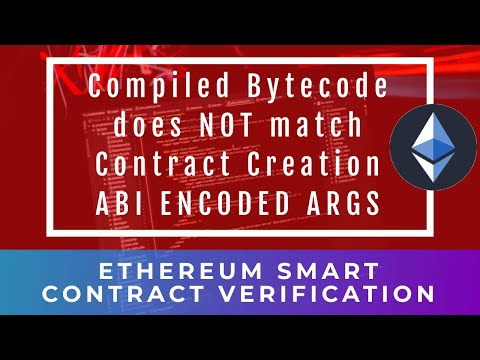 Ethereum Smart-Contract Validation - Compiled Bytecode does NOT match Contract Creation; ABI Encoded