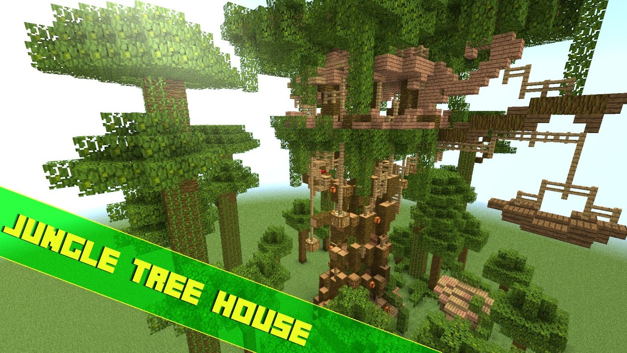 Minecraft Let's Build A Jungle Tree House ! - YouTube