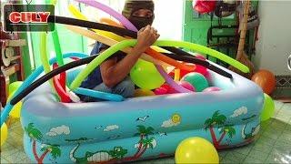 làm nhà banh bằng bong bóng trong hồ bơi khổng lồ - make ball house by balloons pool toy for kid