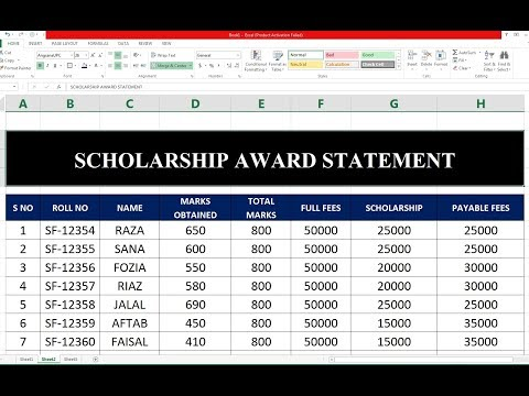 #102 How To Make Scholarship statement Sheet on Excel