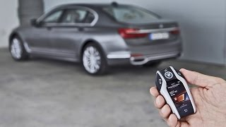 2016 BMW 7 Series - Remote Control Parking Demonstration(The new BMW 7 Series is the world's first series-produced car that owners will be able to manoeuvre in or out of forward-parking spaces or garages without ..., 2015-08-28T13:13:41.000Z)