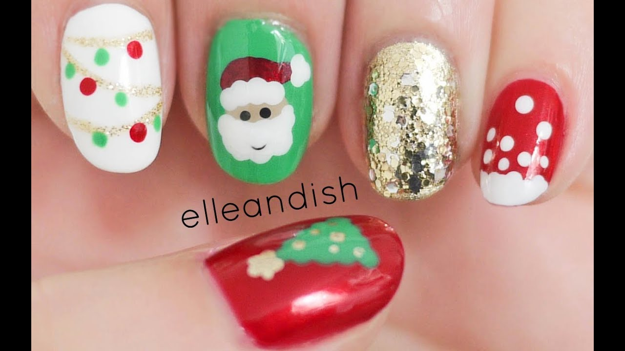 easy christmas nails freehand youtube prinsesfo Images