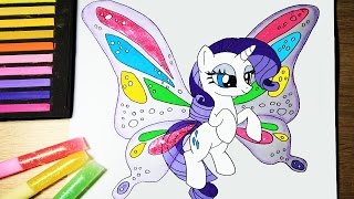 My Little Pony How To Draw Rarity Butterfly Equestria Girl with Wings Coloring Video for Kids