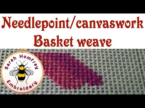 Hand Embroidery -  Basket Weave stitch for needlepoint / canvaswork