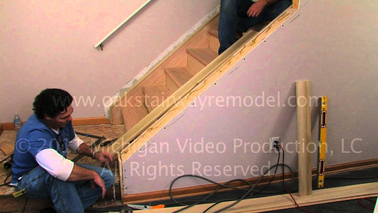 How To Install Cap Boards When Remodeling Stairs With Tread Boards   YouTube