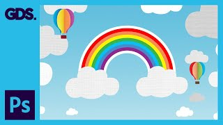 Rainbow & clouds illustration Ep26/33 [Adobe Photoshop for Beginners]