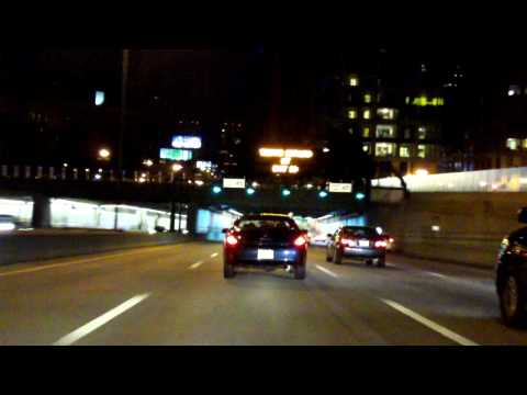 John F. Fitzgerald Expressway (Interstate 93 Exits 28 to 18) southbound (Night)