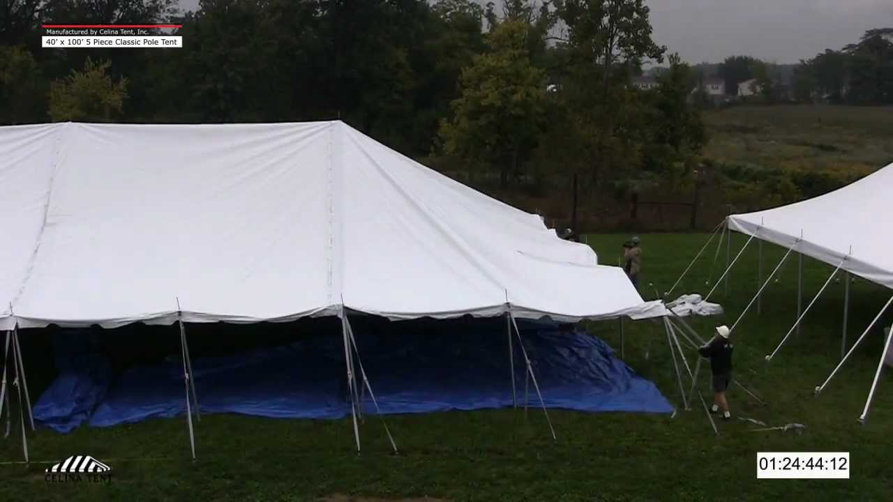Time Lapse - 40 x 100 Classic Pole Tent Installation - YouTube