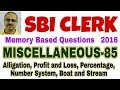SBI CLERK | Memory Based Word Problems-85 (Miscellaneous Questions) (2016)