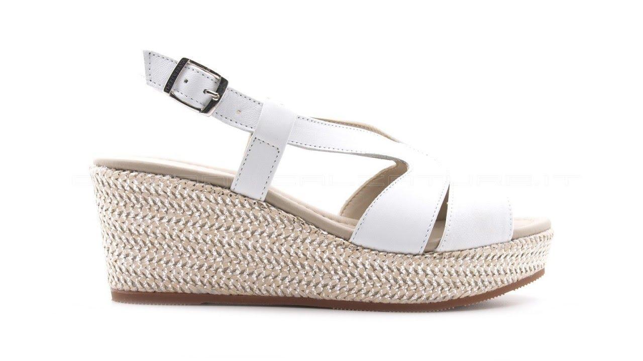 fabbrica In liquidazione stile classico del 2019 Valleverde sandali pelle bianca con zeppa media SKU #32211