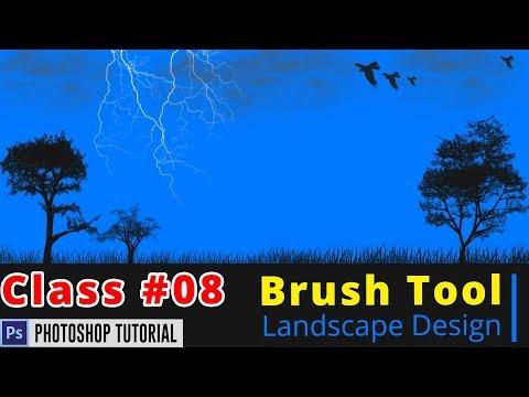 Photoshop Bangla Tutorial : Landscape Design Photoshop Tutorial | Brush Tool | Class #08