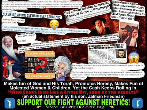Manis Friedman EXPOSED: Mocking Victims And Supporting At Least 2 Child Molesters