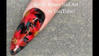 Christmas Poinsettia Nails For Beginners   Xmas Nail Art Design