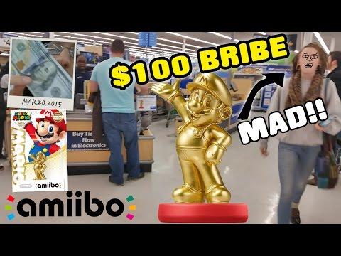 $100 Gold Mario Amiibo Bribe! MAD Walmart Shopper @ Midnight Release!!! (AMIIBO SHOPPING)