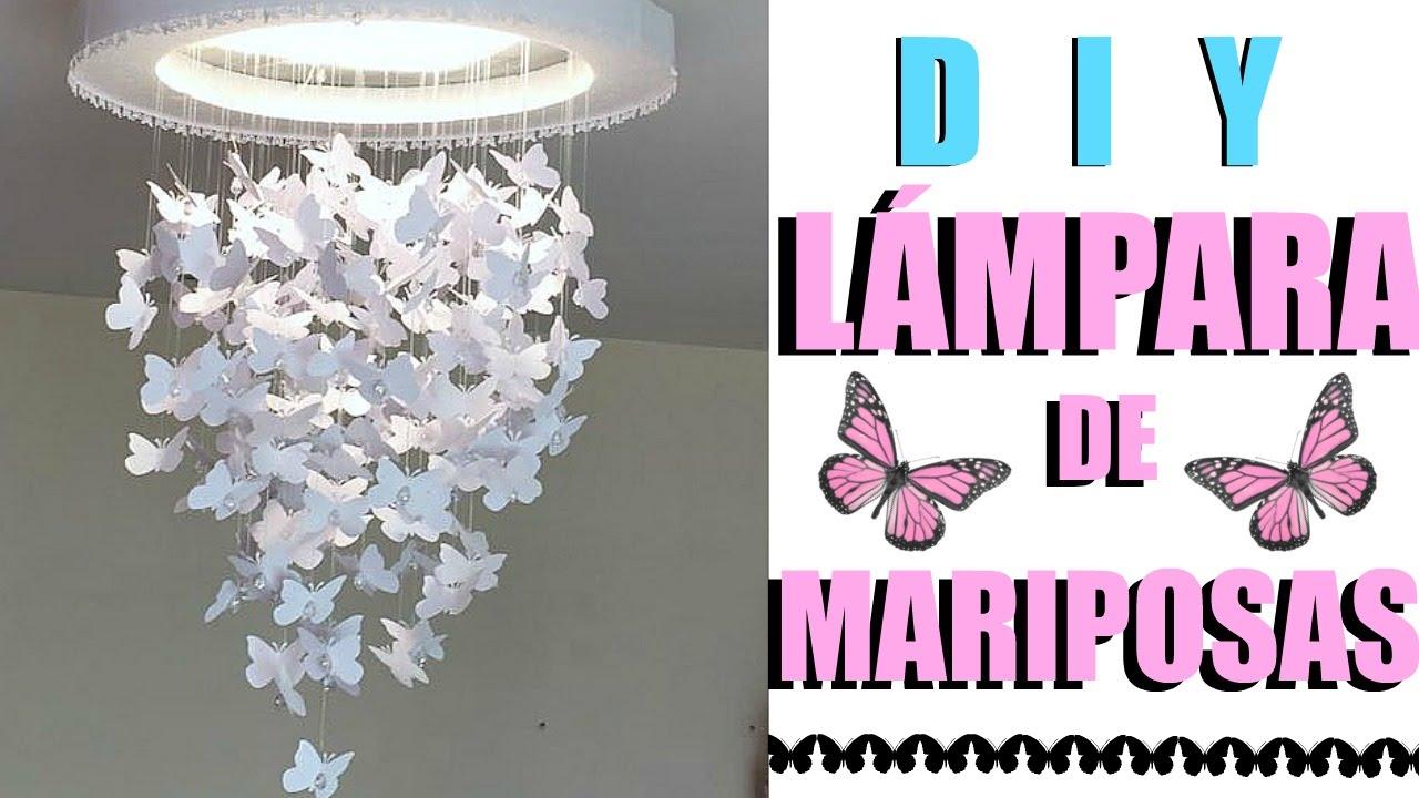 Diy lampara de mariposas diy butterfly chandelier youtube - Como hacer una lampara de techo ...