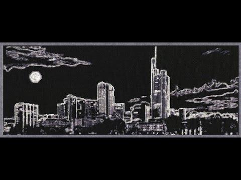 Вышивка крестиком ночной город