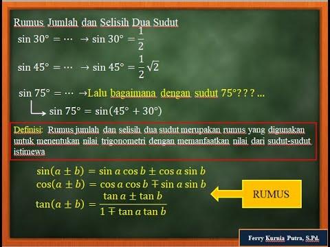 Video Pembelajaran Matematika Rumus Jumlah Dan Selisih Dua Sudut Trigonometri Youtube