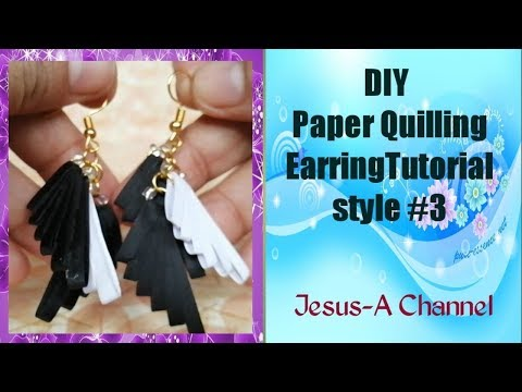 DIY Paper Quilling Earring Tutorial style 3 Full HD