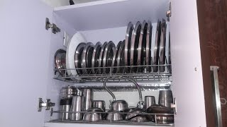 Indian kitchen organisation idea for utensils -dinnerware,serving ware and cookware