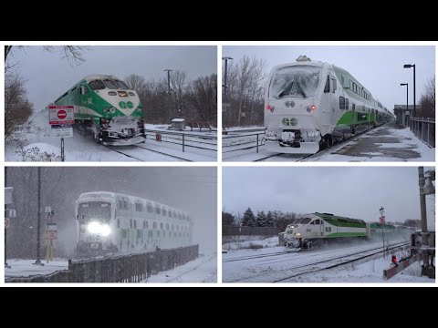 Go transit train action in the snow!