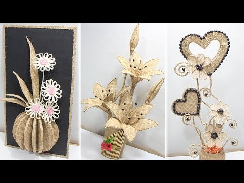 5 Flower vase decoration ideas with jute | Home decoration ideas