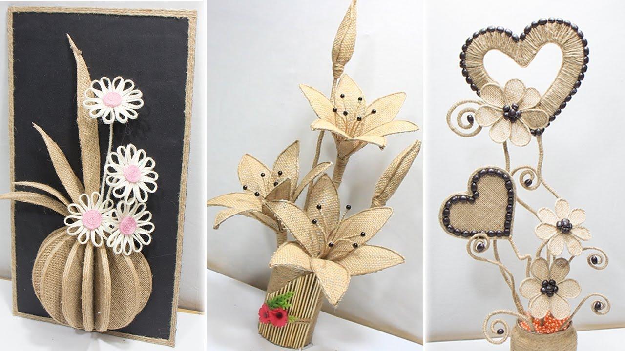 5 Flower Vase Decoration Ideas With Jute Home Decoration Ideas Youtube
