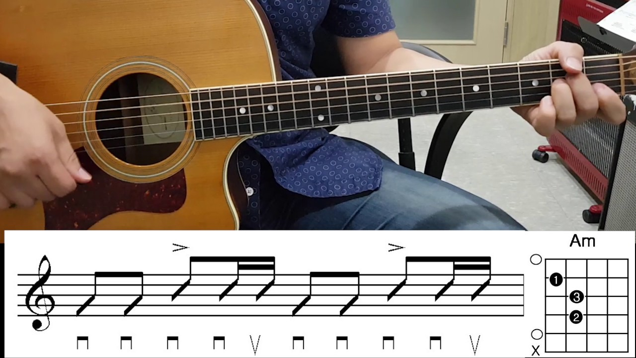 don t look back in anger guitar chord diagram rhythm figure  [ 1280 x 720 Pixel ]