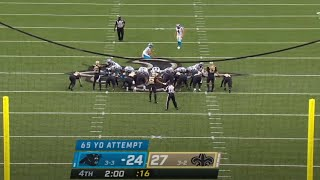Joey Slye Misses 65 Yard Field Goal by INCHES | NFL Record Attempt