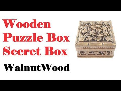 Wooden Puzzle Box : Secret Box : Walnut Wood