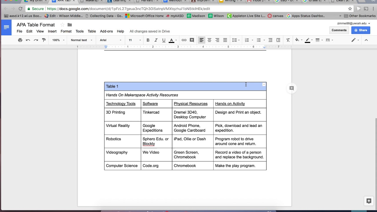 Google Docs APA Table Formating - YouTube