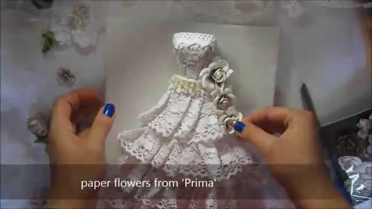 Vintage Art Dress Paper Mache Lace Sculpture On Canvas