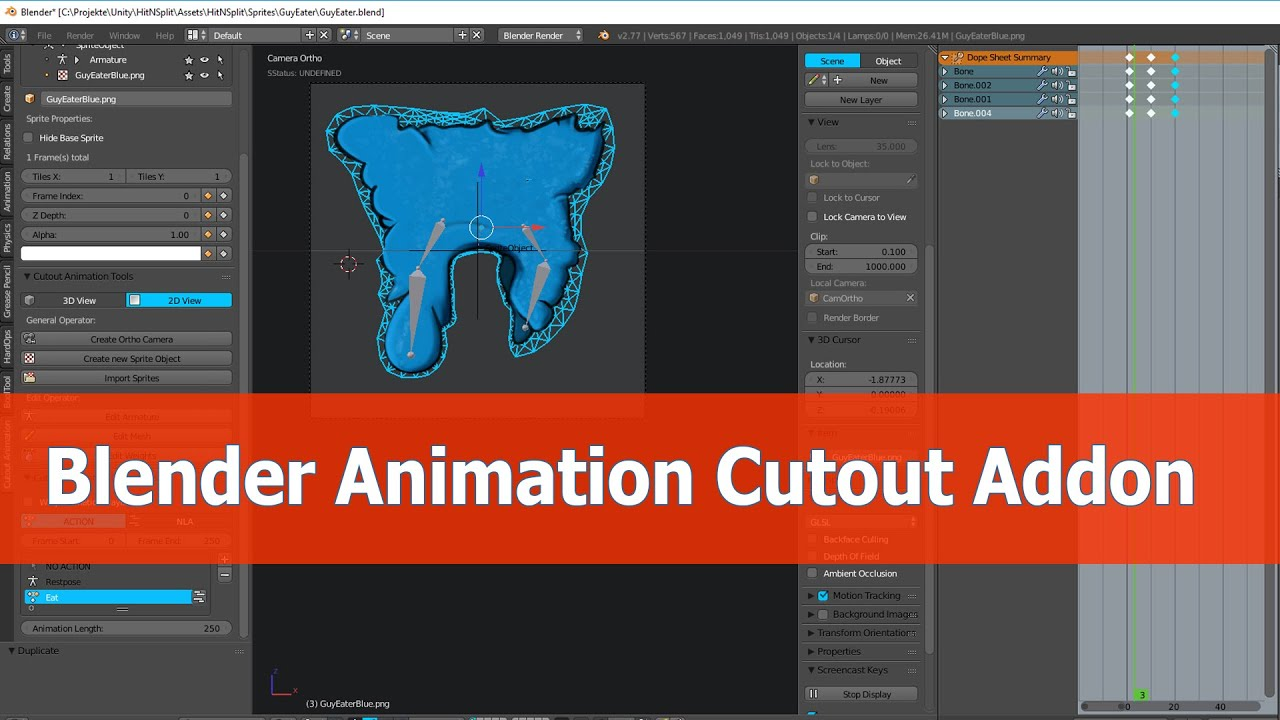 Cutout Animation Addon: Blender and Unity 2D Tutorial