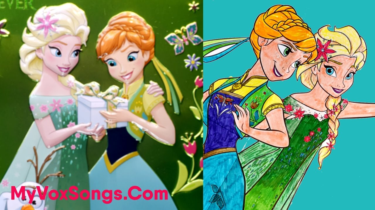 Elsa & Anna From Frozen Fever Colouring Activity | Disney Coloring ...