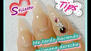 Aplicación de acrílico mano derecha/ How to apply acrylic nails / stiletto nails