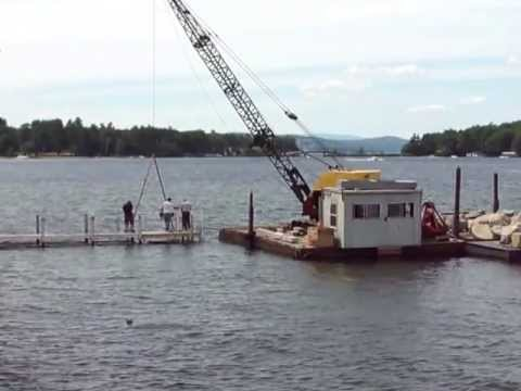Bucyrus Erie Diesel Crane Installing a Boat Lift on Lake Winnipesaukee New Hampshire