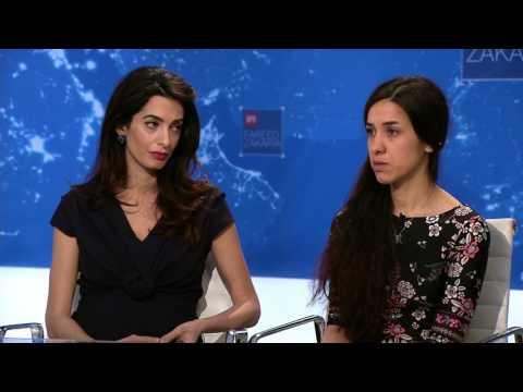 Nadia Murad and Amal Clooney demand...