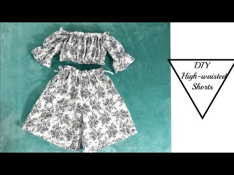 DIY/How to sew High-waisted Flowy/Ruffle Shorts with pockets [EASY SEWING] -PART 1