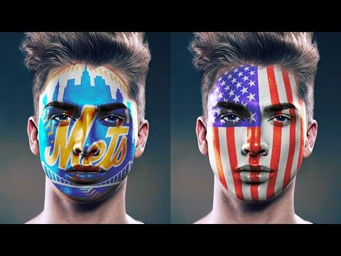 Photoshop Tutorial: FACE PAINT! How to Paint Graphics onto a Face.