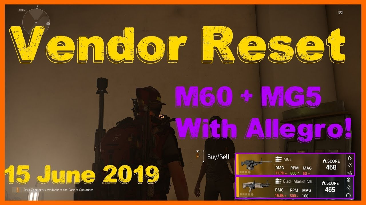 The Division 2 | Weekly Vendor Reset 15 June 2019 | Great LMGs