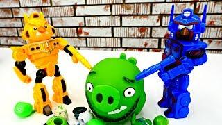 Видео с Энгри Бердс: роботы играют против свиней