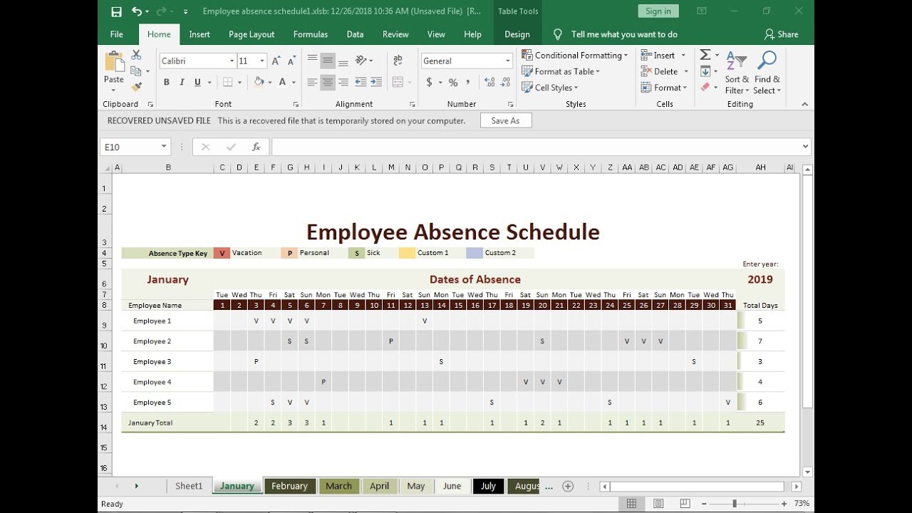 employee absence schedule in excel hindi part2 youtube