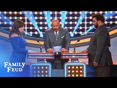 Casey Wilson & Craig Robinson's handtohand combat!  Celebrity Family Feud