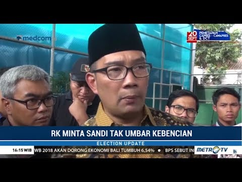 Ridwan Kamil Minta Sandiaga Tak Umbar Kebencian