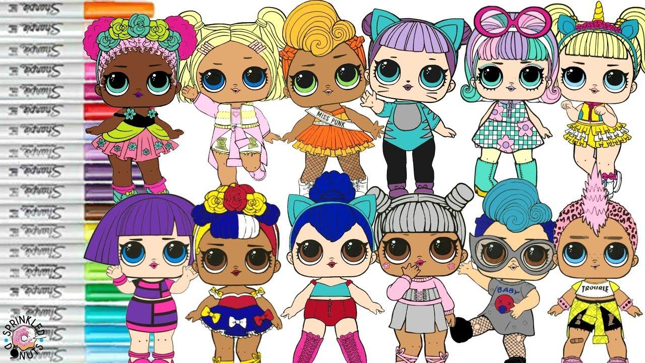 lol surprise dolls coloring book page color swap