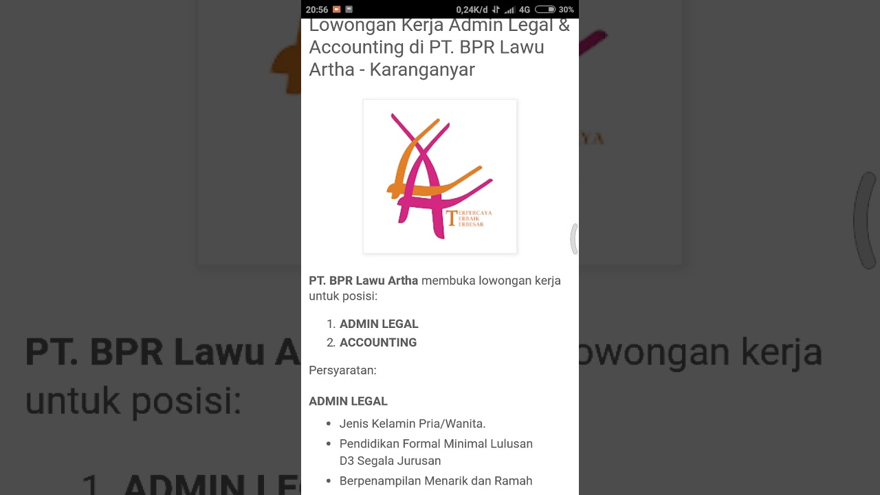 Subscribe Ke Channel Lowongan Kerja Admin Legal Accounting Di Pt Bpr Lawu Artha Karanganyar Youtube
