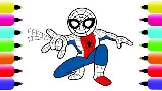 Bé tập vẽ người nhện - how to draw spiderman | Bé tập vẽ - bé tô màu