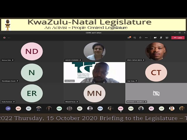 Briefing to the Legislature – Tabling of the submission on the Division of Revenue 2021/2022 Thursda