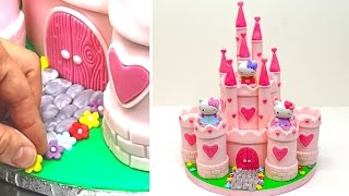 PRINCESS CASTLE Hello Kitty Play Cake - How To Make by CakesStepbyStep