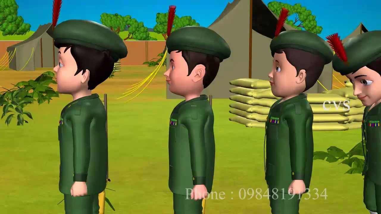 3D Animation Five Little Soldiers Nursery Rhyme for children with Lyrics