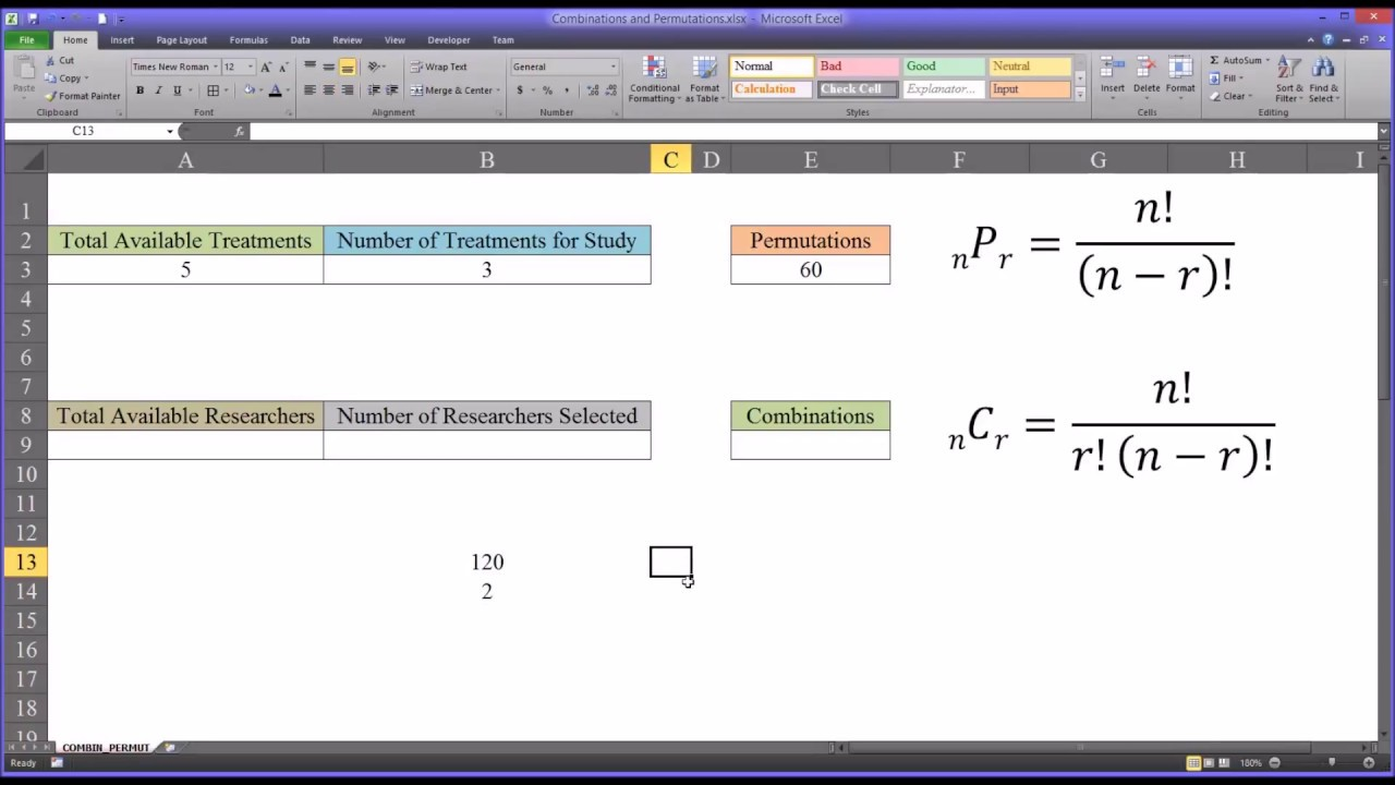 Combinations and Permutations in Excel YouTube – Permutation Worksheet